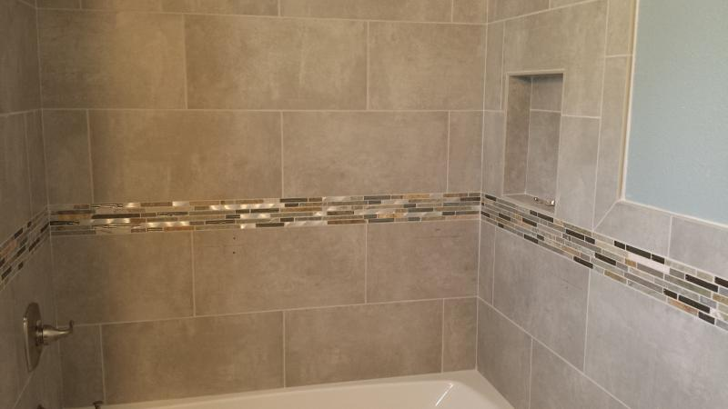 12 x 24 Porcelain wall tile with mosaic boarder